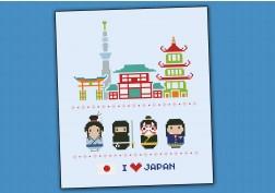 Japan icons (big version) - Mini people around the world
