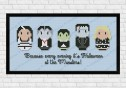 The munsters cross stitch pattern on light blue