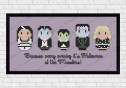 The munsters cross stitch pattern on purple