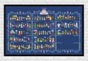 Full Pattern in Grid on dark blue fabric - Epic Storybook Princesses
